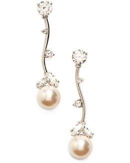 Imitation Pearl Linear Drop Earrings
