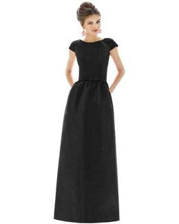 Cap-Sleeve Dupioni Full-Length Dress