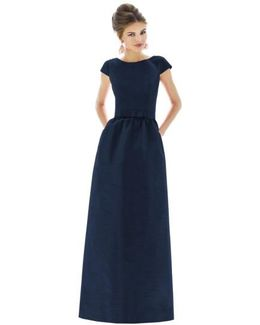 Dupioni Cap-Sleeved Gown