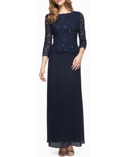 Sequin Lace & Chiffon Gown