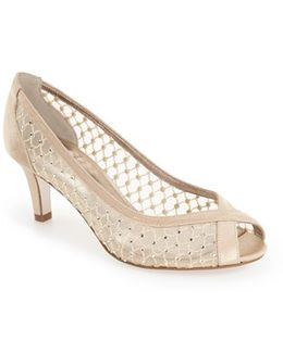 Zandra Crystal-Embellished Peep-Toe Pumps