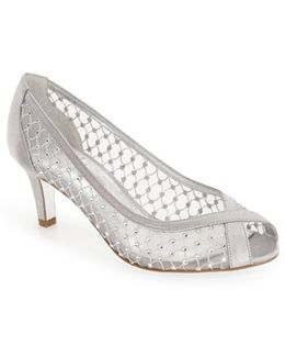 'zandra' Crystal Embellished Peep Toe Pump