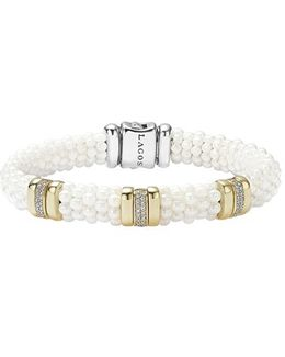 'white Caviar' Three Station Bracelet