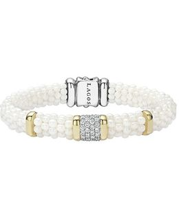 'white Caviar' Diamond Rope Bracelet