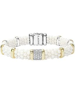 'white Caviar' Diamond Station Bracelet