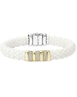 'white Caviar' Triple Pave Diamond Rope Bracelet