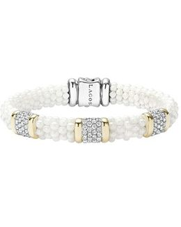 'white Caviar' Three Station Diamond Bracelet
