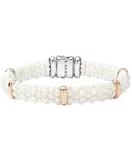 'white Caviar' Five Station Bracelet