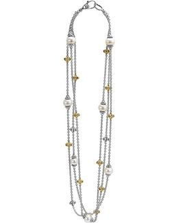 'luna' Pearl Three-strand Link Necklace