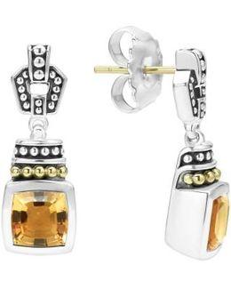 'caviar Color' Square Semiprecious Stone Drop Earrings
