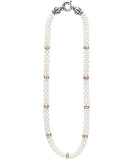 'white Caviar' 7mm Beaded Station Necklace