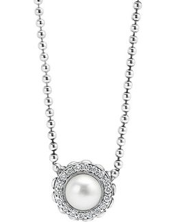 'luna' Pearl & Diamond Pendant Necklace