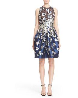 Floral Applique Cutaway Cocktail Dress