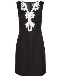 Embroidered Neck Sheath Dress