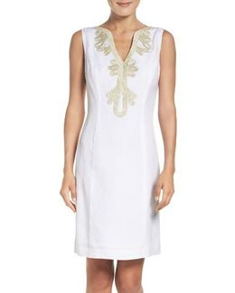 Embroidered Neck Sheath Dress