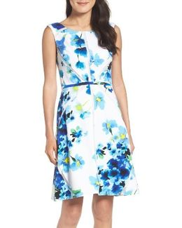 Floral Print With Mesh Inset Fit & Flare Dress