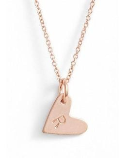 Sterling Silver Initial Heart Pendant Necklace