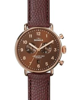 The Canfield Chrono Leather Strap Watch