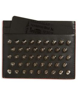 'kios' Spiked Calfskin Leather Card Case