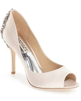 'Nilla' Crystal Back Peep Toe Pump