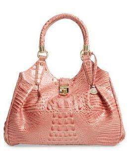 'elisa' Croc Embossed Leather Shoulder Bag