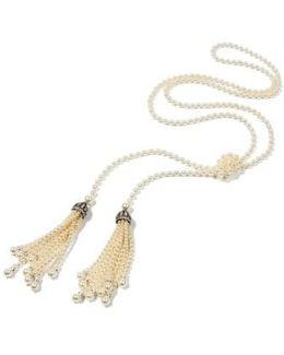 Glass Pearl Tassel Necklace