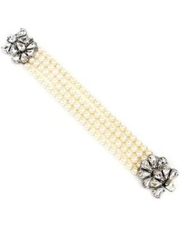 Crystal & Faux Pearl Strand Bracelet