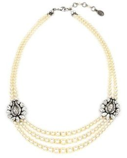 Faux Pearl & Crystal Station Necklace