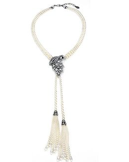 Faux Pearl And Crystal Tassel Necklace