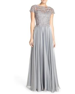 Fashions Embellished Lace and Satin Ballgown