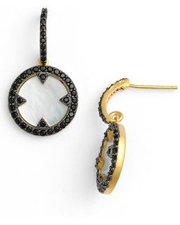 'slated Noir' Cubic Zirconia & Mother Of Pearl Disc Drop Earrings