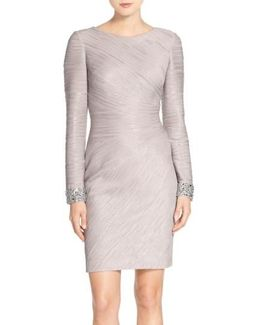 Embellished Sleeve Knit Sheath Dress