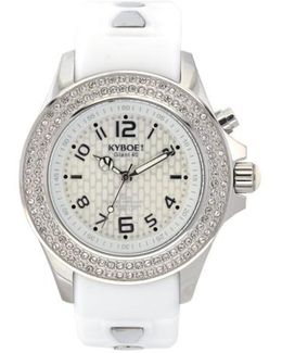 ! 'radiant' Crystal Bezel Silicone Strap Watch