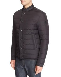 'hanriot' Leather Trim Quilted Down Moto Jacket