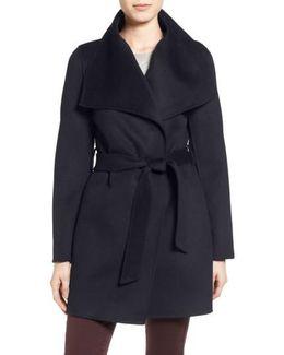 Tahari 'ella' Belted Double Face Wool Blend Wrap Coat