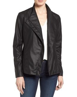Tahari 'kelly' Leather Peplum Jacket