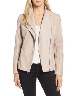 Tahari Kelly Leather Peplum Jacket