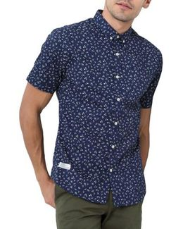 Editions Of You Trim Fit Short Sleeve Floral Print Woven Shirt