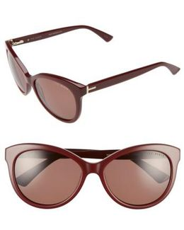 56mm Cat Eye Sunglasses - Burgundy