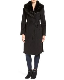 Faux Fur Shawl Collar Wool Blend Wrap Coat