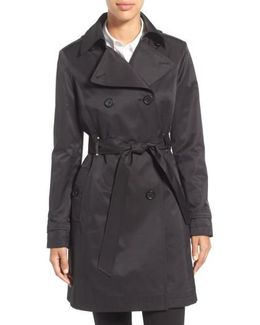 Double Breasted Trench With Faux Leather Trim