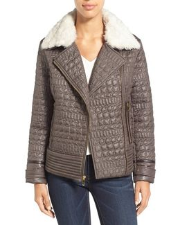 Detachable Faux Fur Collar Quilted Moto Jacket