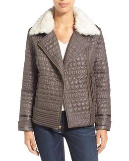 Detachable Faux Fur Collar Quilted Moto Jacket