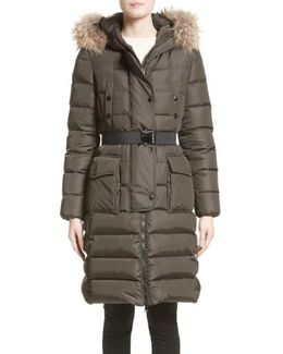 'khloe' Water Resistant Nylon Down Puffer Parka With Removable Genuine Fox Fur Trim
