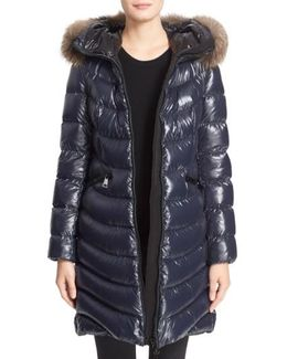'aphia' Water Resistant Shiny Nylon Down Puffer Coat With Removable Genuine Fox Fur Trim