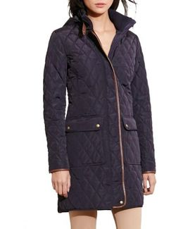 Diamond Quilted Coat With Faux Leather Trim