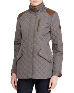 Diamond Quilted Jacket With Faux Leather Trim