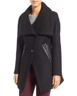 'maddi' Knit Collar Cutaway Wool Blend Coat