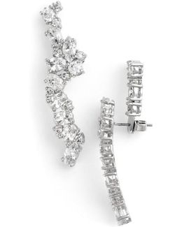 Cubic Zirconia Drop Back Linear Stud Earrings