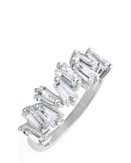 Jagged Baguette Cubic Zirconia Band Ring